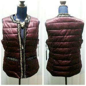 💎NWT Karl Lagerfeld Maroon Tweed Trim Puffer Vest